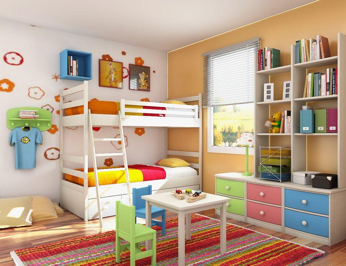 Habitaci n infantil colorida con litera im genes y fotos - Ideas pintar habitacion infantil ...
