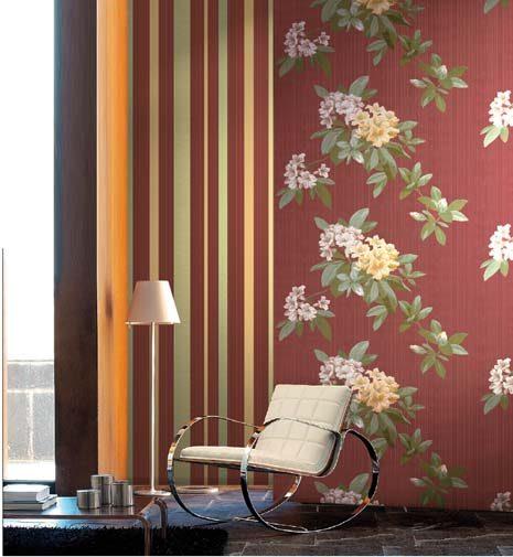 Papel pintado cl sico de dise o con flores im genes y fotos - Pintar mural en pared ...